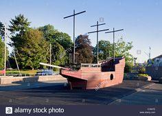 "England Devon Totnes Steamer Quay Children's climbing frame shaped like a galleon ""The Hart of Totnes"" Stock Photo"
