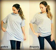 Transforma tus camisetas grandes en un diseño muy juvenil.