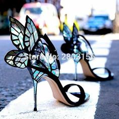 Sestito Ladies Mixed Color Butterflies Embellished High Heels Ankle Strap Sandals Woman Open Toe Cover Heels Dress Wedding Shoes – Interior Designer&Architecture - Touching and Emotional Image Dream Shoes, Crazy Shoes, Me Too Shoes, Crazy High Heels, Cool High Heels, Amazing Heels, Pretty Shoes, Beautiful Shoes, Gorgeous Heels