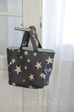 House No.43 Sternen Tasche aus Wachstuch nähen Stars bag with oil cloth sewing