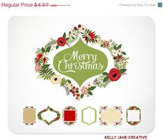 Christmas Wreaths, Frames, & Ribbon Banners Clip Art to make your Christmas party invites, family Christmas cards, wedding stationery https://www.etsy.com/listing/170274028