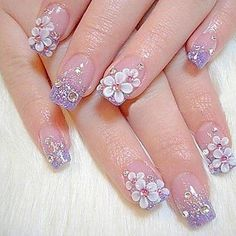 The trend of is on constant rise. Right from the movies to paintings and animation, the trend has made an impact on the nail art as well. Here are some exclusive nail art ideas to try this summer. French Acrylic Nails, Acrylic Nail Art, 3d Nail Art, 3d Nails, Nail Arts, Pink Nails, French Manicures, Purple Manicure, Acrylic Liquid