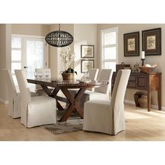 Burkesville Dining Room Set w/ Flax Slipcover Chairs