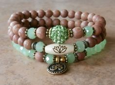 Set of 3 Yoga bracelets, Om, Lotus bead, Pave bead and Genuine Rosewood beads. Meditation, Reiki Charged, free shipping.