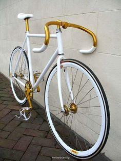 gold + white bike