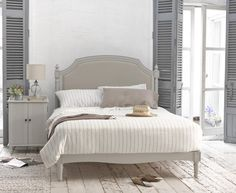 The Claude bed in French grey with a lovely vintage paint finish. Each one hand carved in solid wood.