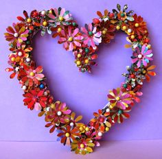 Love paper flowers... Heart Projects, Paper Flowers, Hearts, Wreaths, My Favorite Things, Fall, Handmade, Home Decor, Autumn