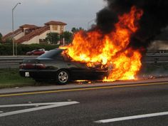 Ten Reasons to Pull Over Quickly - 5. You see a fire in the car