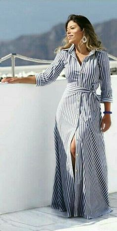 Striped Dresses 2018 Outfits Ideas 43 - Fiveno dress in . - Striped Dresses 2018 Outfits Ideas 43 – Fiveno Plus size dress striped dresse - Modest Fashion, Hijab Fashion, Fashion Dresses, Classy Fashion, Punk Fashion, Lolita Fashion, French Fashion, Cute Dresses, Casual Dresses