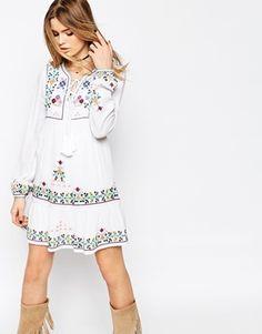 ASOS PREMIUM Embroidered Tassel Mini Dress