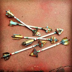 decorative arrows, handmade using recycled garage scraps. Each is one-of-a-kind - sold in San Diego, CA store