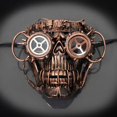 Buy Mens Steampunk Cyborg Skeleton Halloween Costume Masquerade Mask [Copper] at online store