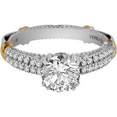 Verragio 14k Gold 1/3ct TDW Diamond and Cubic Zirconia Center Engagement Ring