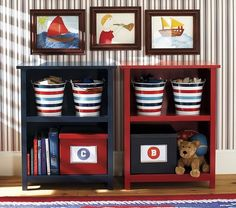 Discover boys room ideas and inspiration at Pottery Barn Kids. Shop our favorite boys bedrooms for furniture, bedding, and more. Pottery Barn Kids, Pottery Barn Bookcase, Ideas Prácticas, Room Ideas, Kids Bookcase, Nautical Nursery, Nautical Theme, Nautical Quilt, Nursery Bedding Sets