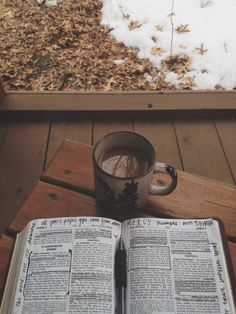 Coffee and Jesus. I want to do this to my bible one day. And with tea not coffee lol Bibel Journal, God Is Good, Verses, Prayers, Rain, In This Moment, Words, Aesthetics, Bible Quotes