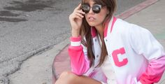 Gradient bomber in pink and white by COVU Clothing