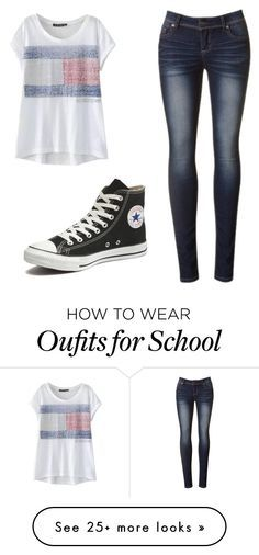 """School Outfit"" by rainyy213 on Polyvore featuring Converse, women's clothing, women's fashion, women, female, woman, misses and juniors"