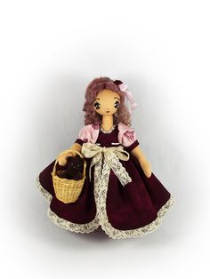 Art cloth doll  textile doll and cat  10 inch 25 by KaterinaMenthe