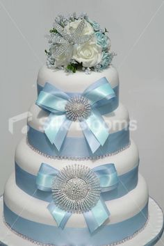 stunning wedding cakes | Cake Topper w/ Crystal Lily Stunning Ivory and Baby Blue Wedding Cake ...