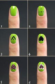 Uñas decoradas en color verde | Decoración de Uñas - Manicura y NailArt