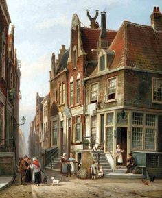 Cornelis Christiaan Dommersen (Dutch painter) 1842 - 1928 Het Joods Kwartier (The Jewish Quarter), Amsterdam, 1878 oil on canvas 39.4 x 32.2 cm. signed and dated 'Chr Dommershuizen 1878.' (lower left) private collection
