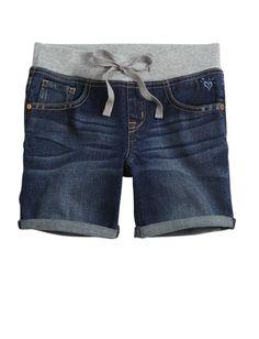 Knit Waist Mid-thigh Denim Shorts   Mid-thigh 5 Inseam   Shorts   Shop Justice