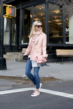 Street Style - The Top Blogger Looks Of The Week: Fashion Blogger 'Atlantic-Pacific' wearing a pale pink blazer, a white long line shirt, a blush scarf, skinny jeans, pale pink cap toe sneakers, black sunglasses and a pink clutch
