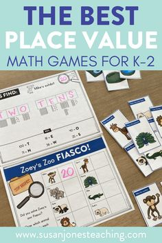 """Are you looking for fun and easy fun ways to teach place value to your k-2 students? In this post, I am sharing some of my favorite place value games to use during math workshop, guided math groups, or math centers. These math games use dice and cubes to help students learn about place value. There is a race to 100 math game plus a """"what's my value?"""" math game. Students use manipulatives to help create numbers. Students practice counting up tens and ones to 120 with these low prep math games."""