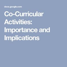 importance of co curricular activities in school