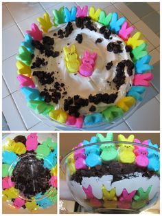 Easter Trifle - brownies, chocolate pudding, cool whip layered with bunny peeps