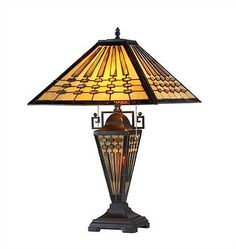 Handcrafted-Tiffany-Style-Mission-3-Light-Stained-Glass-Table-Lamp-16-Shade