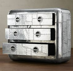 Industrial Dresser. I want one, looks like the rivets on an airplane..so cool