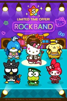 Enjoy an exciting rock festival with Hello Kitty Friends! Hello Kitty Art, Hello Kitty Themes, Hello Kitty Images, Hello Kitty Characters, Sanrio Characters, Sanrio Danshi, Sanrio Wallpaper, Japanese Cartoon, Frog And Toad