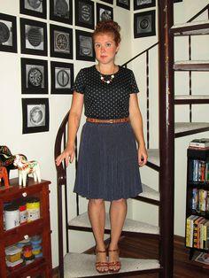 black and grey polka dot shirt, brown belt, navy and white polka dot skirt, brown sandals