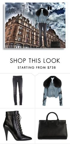 """A Day at Harrod's"" by shoecraycray ❤ liked on Polyvore featuring Balmain, Jonathan Simkhai, Yves Saint Laurent and Kendra Scott"
