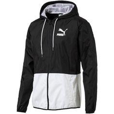 Puma Archive Logo T7 Windbreaker Jacket ($75) ❤ liked on Polyvore featuring men's fashion, men's clothing, men's activewear, men's activewear jackets and puma black