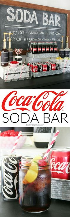 Make any party or gathering a hit with a make it yourself Coca-Cola Soda Bar! Sweet 16 Parties, Holiday Parties, Teen Parties, Teen Party Food, Teen Boy Party, Holiday Ideas, Pool Parties, Kino Party, Vanilla Coke
