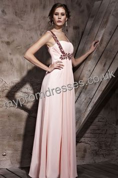 Floor Length Spaghetti Pink Chiffon A-line Evening Dress  http://www.mypromdresses.co.uk
