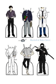 """Sherlock wearing things that are implied in canon but never seen. Companion to a similar set for John.  If an explanation is called for: In his blog John describes Sherlock as being """"a bit public school,"""" so I gave him a uniform from Harrow. Next, in..."""