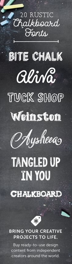 On the Creative Market Blog - 20 Rustic Chalkboard Fonts to Add to Your Collection