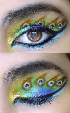 I have an intense love affair with peacocks. This makeup is very cool. I wish I had somewhere to wear it.