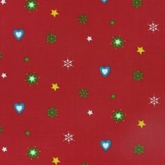 100% Cotton Christmas fabric - hearts and stars on a red background