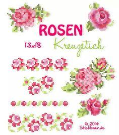 Rose Cross Stitch - Rose Cross Stitch / Romantic style roses made with cross stitches. Cross Stitch Fruit, Mini Cross Stitch, Beaded Cross Stitch, Simple Cross Stitch, Cross Stitch Rose, Cross Stitch Flowers, Cross Stitch Embroidery, Easy Cross Stitch Patterns, Cross Stitch Borders