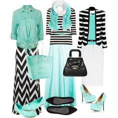 """Black/White/Aqua"" by modestlyme97 on Polyvore. Beautiful colors and style. Aqua and mint are again popular colors for spring and summer."