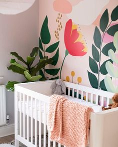 Nursery Makeover – Before & After Nursery Room Makeover with statement wall floral mural - Colorful Baby Rooms Baby Bedroom, Nursery Room, Nursery Decor, Bedroom Decor, Baby Rooms, Girl Nursery, Baby Room Wall Decor, Baby Decor, Bedroom Murals