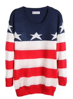 Red White Blue Striped Long Sleeve Stars Print Sweater - Sheinside.com @Isabellah von Trapp