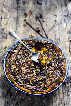 Butternut et chocolat clafoutis pour les écureuils parce que c'est l'automne !