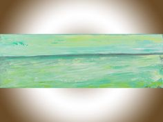 Abstract seascape painting original art green grey by QiQiGallery