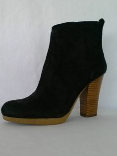 d9bbad9580e6 Enzo Angiolini Alessi Black Suede Leather Ankle Boots Womens Size 9 Shoes