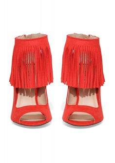 Ara Fringe Heel in Red | Necessary Clothing